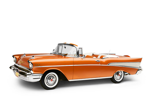 AUT 21 RK2113 01 © Kimball Stock 1957 Chevrolet Bel Air Convertible Serra Gold 3/4 Front View Studio