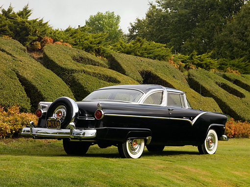 AUT 21 RK2119 01 © Kimball Stock 1955 Ford Crown Victoria Black Rear 3/4 View On Grass By Shrubs Tree Sky