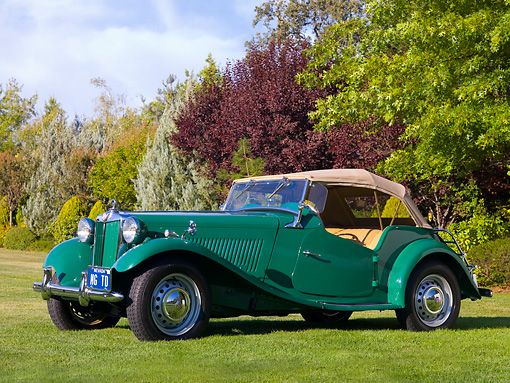 AUT 21 RK2124 01 © Kimball Stock 1954 MG TD Green Front 3/4 View On Grass By Trees Sky