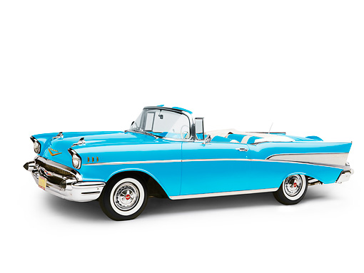 AUT 21 RK2150 01 © Kimball Stock 1957 Chevrolet Bel Air Convertible Blue 3/4 Front View Studio