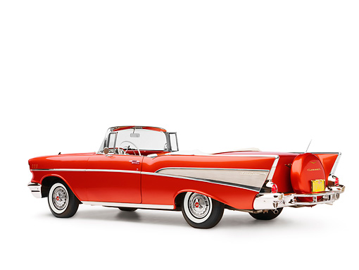 AUT 21 RK2152 01 © Kimball Stock 1957 Chevrolet Bel Air Convertible Red 3/4 Rear View Studio
