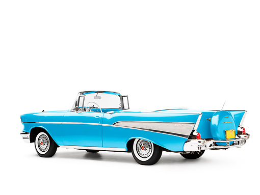 AUT 21 RK2153 01 © Kimball Stock 1957 Chevrolet Bel Air Convertible Blue 3/4 Rear View Studio