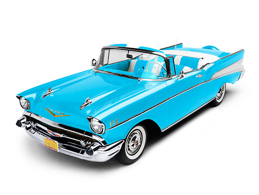 AUT 21 RK2154 01 © Kimball Stock 1957 Chevrolet Bel Air Convertible Blue 3/4 Front View Studio