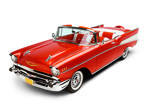AUT 21 RK2155 01 © Kimball Stock 1957 Chevrolet Bel Air Convertible Red 3/4 Front View Studio