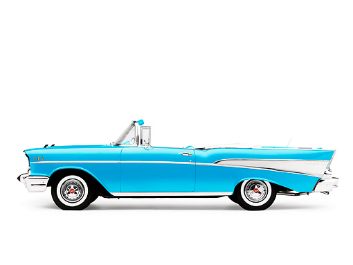 AUT 21 RK2157 01 © Kimball Stock 1957 Chevrolet Bel Air Convertible Blue Profile View Studio