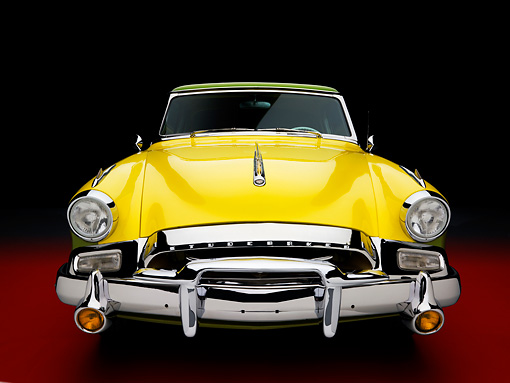AUT 21 RK2162 01 © Kimball Stock 1955 Studebaker Speedster President Green & Yellow Head On View Studio
