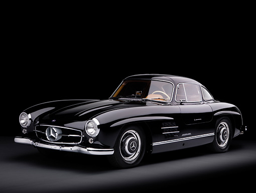AUT 21 RK2168 01 © Kimball Stock 1955 Mercedes-Benz 300SL Gullwing Coupe Black 3/4 Front View Studio