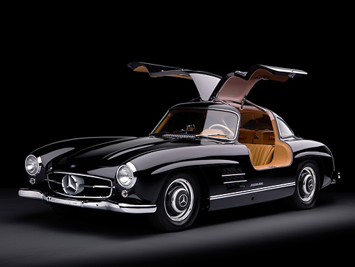 AUT 21 RK2169 01 © Kimball Stock 1955 Mercedes-Benz 300SL Gullwing Coupe Black 3/4 Front View Studio