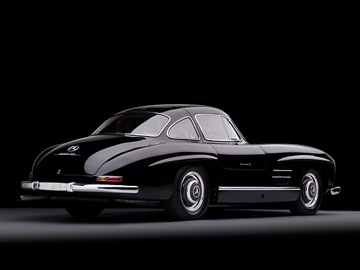 AUT 21 RK2170 01 © Kimball Stock 1955 Mercedes-Benz 300SL Gullwing Coupe Black 3/4 Rear View Studio