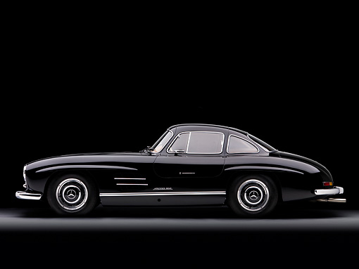AUT 21 RK2171 01 © Kimball Stock 1955 Mercedes-Benz 300SL Gullwing Coupe Black Profile View Studio