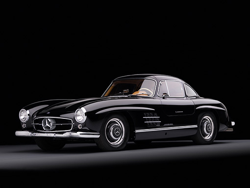 AUT 21 RK2172 01 © Kimball Stock 1955 Mercedes-Benz 300SL Gullwing Coupe Black 3/4 Front View Studio