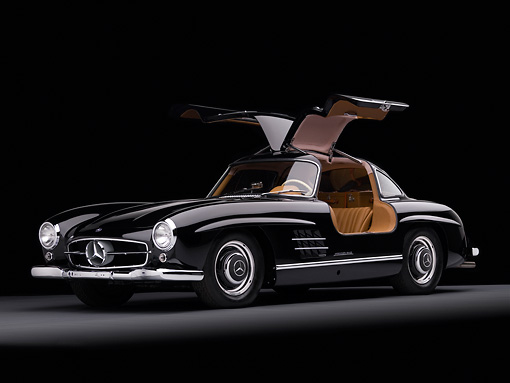 AUT 21 RK2173 01 © Kimball Stock 1955 Mercedes-Benz 300SL Gullwing Coupe Black 3/4 Front View Studio