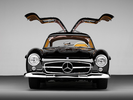 AUT 21 RK2174 01 © Kimball Stock 1955 Mercedes-Benz 300SL Gullwing Coupe Black Head On View Studio