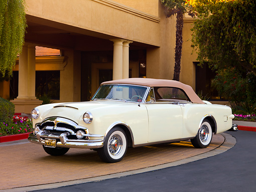 AUT 21 RK2186 01 © Kimball Stock 1953 Packard Caribbean Convertible Ivory 3/4 Front View By Building