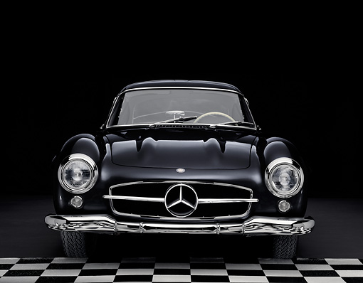 AUT 21 RK2195 01 © Kimball Stock 1955 Mercedes-Benz 300SL Gullwing Coupe Black Head On View Studio