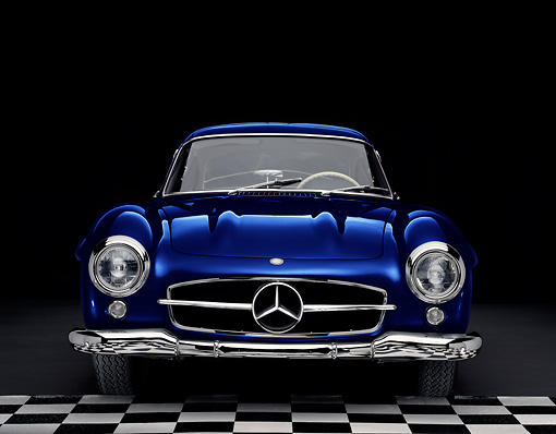 AUT 21 RK2196 01 © Kimball Stock 1955 Mercedes-Benz 300SL Gullwing Coupe Blue Head On View Studio