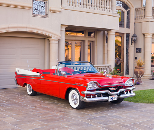 AUT 21 RK2221 01 © Kimball Stock 1957 Dodge Custom Royal Lancer Convertible Red And White 3/4 Front View By House