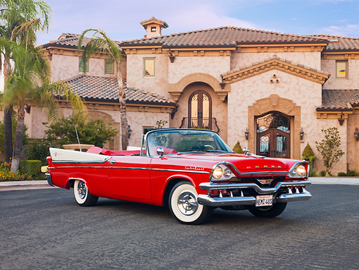 AUT 21 RK2223 01 © Kimball Stock 1957 Dodge Custom Royal Lancer Convertible Red And White 3/4 Front View By House