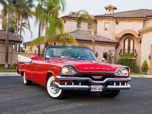 AUT 21 RK2224 01 © Kimball Stock 1957 Dodge Custom Royal Lancer Convertible Red And White 3/4 Front View By House