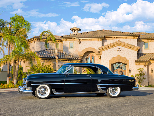 AUT 21 RK2230 01 © Kimball Stock 1954 Chrysler Newport New Yorker Black 3/4 Front View By House