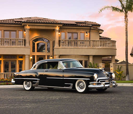 AUT 21 RK2231 01 © Kimball Stock 1954 Chrysler Newport New Yorker Black 3/4 Front View By House