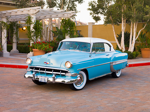 AUT 21 RK2235 01 © Kimball Stock 1954 Chevrolet Bel Air Sport Coupe Turquoise 3/4 Front View By Trees