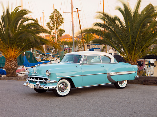 AUT 21 RK2236 01 © Kimball Stock 1954 Chevrolet Bel Air Sport Coupe Turquoise 3/4 Front View By Marina