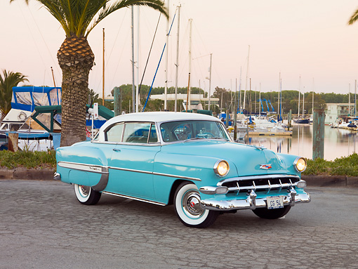 AUT 21 RK2237 01 © Kimball Stock 1954 Chevrolet Bel Air Sport Coupe Turquoise 3/4 Front View By Marina