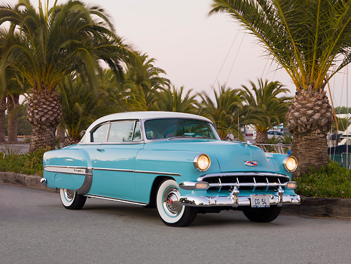 AUT 21 RK2238 01 © Kimball Stock 1954 Chevrolet Bel Air Sport Coupe Turquoise 3/4 Front View By Marina