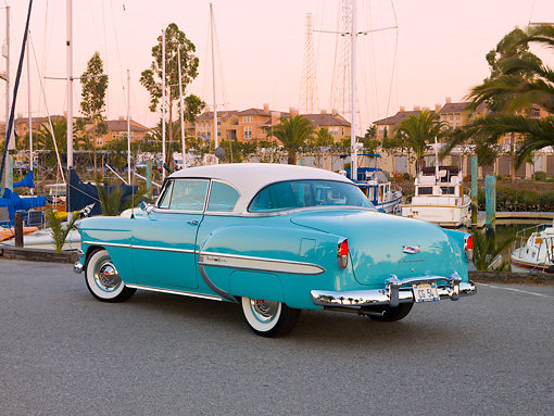 AUT 21 RK2240 01 © Kimball Stock 1954 Chevrolet Bel Air Sport Coupe Turquoise 3/4 Rear View By Marina