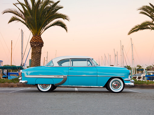 AUT 21 RK2241 01 © Kimball Stock 1954 Chevrolet Bel Air Sport Coupe Turquoise Profile View By Marina