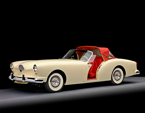 AUT 21 RK2247 01 © Kimball Stock 1954 Kaiser Darrin Convertible White And Red 3/4 Front View Studio