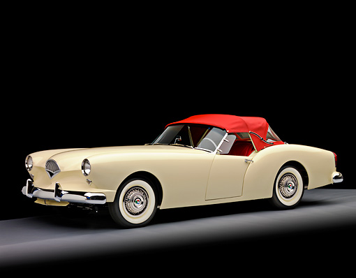 AUT 21 RK2250 01 © Kimball Stock 1954 Kaiser Darrin Convertible White And Red 3/4 Front View Studio