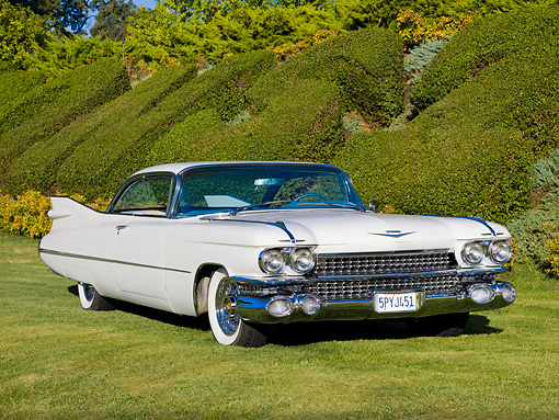 AUT 21 RK2310 01 © Kimball Stock 1959 Cadillac Coupe White 3/4 Front View On Grass By Hedge