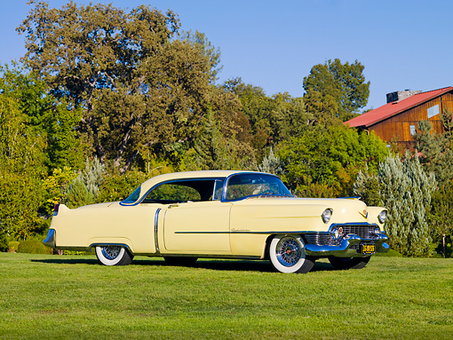 AUT 21 RK2315 01 © Kimball Stock 1954 Cadillac Coupe De Ville Yellow 3/4 Front View On Grass By Trees