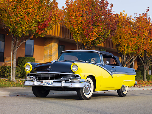 AUT 21 RK2332 01 © Kimball Stock 1956 Ford Fairlane Convertible Black And Yellow 3/4 Front View On Pavement By Autumn Trees