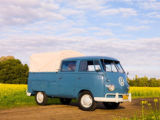 AUT 21 RK2360 01 © Kimball Stock 1956 Volkswagen Binz Double Cab Bus Blue 3/4 Front View By Field Of Yellow Wildflowers