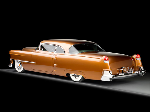 AUT 21 RK2375 01 © Kimball Stock 1954 Cadillac Coupe de Ville Bronze 3/4 Rear View Studio