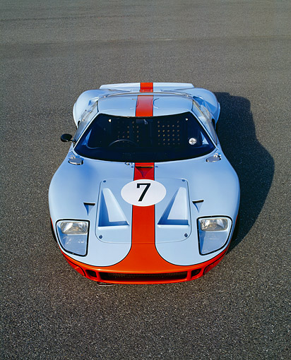 AUT 22 RK1720 06 © Kimball Stock 1968 Ford GT40 Light Blue And Orange