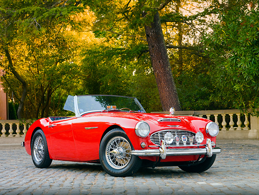 AUT 22 BK0013 01 © Kimball Stock 1960 Austin-Healey 3000 BT7 Roadster Red 3/4 Front View On Pavement By Trees