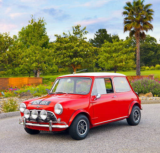 AUT 22 BK0018 01 © Kimball Stock 1960 Mini Mark I Red 3/4 Front View On Pavement By Trees