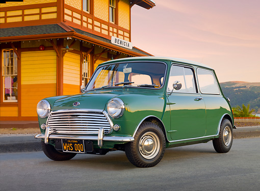 AUT 22 BK0082 01 © Kimball Stock 1967 Austin Mini Cooper Mark II Green 3/4 Front View On Pavement By Building