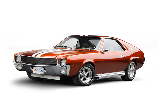 AUT 22 BK0104 01 © Kimball Stock 1969 AMC AMX Candy Tangerine With White Stripes 3/4 Front View On White Seamless