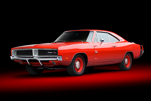 AUT 22 BK0105 01 © Kimball Stock 1969 Dodge Charger R/T Hemi Bright Red 3/4 Front View In Studio