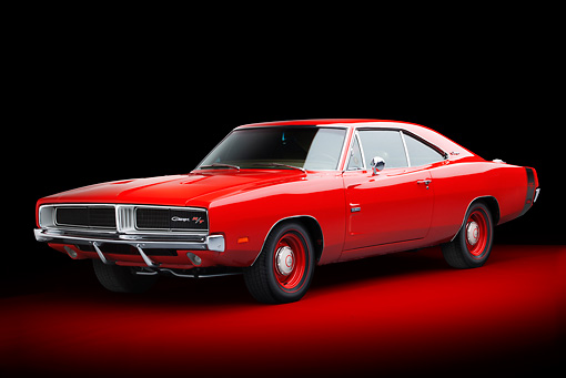 AUT 22 BK0106 01 © Kimball Stock 1969 Dodge Charger R/T Hemi Bright Red 3/4 Front View In Studio