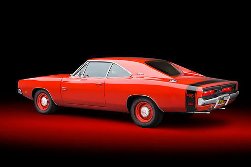 AUT 22 BK0107 01 © Kimball Stock 1969 Dodge Charger R/T Hemi Bright Red 3/4 Rear View In Studio