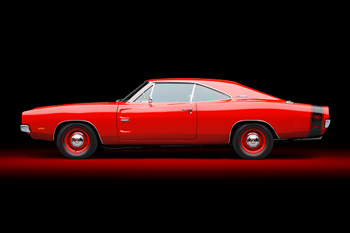 AUT 22 BK0108 01 © Kimball Stock 1969 Dodge Charger R/T Hemi Bright Red Profile View In Studio