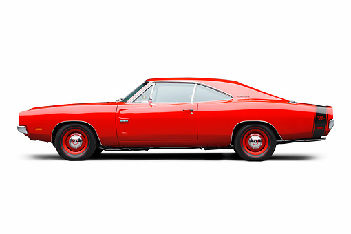 AUT 22 BK0109 01 © Kimball Stock 1969 Dodge Charger R/T Hemi Bright Red Profile View On White Seamless