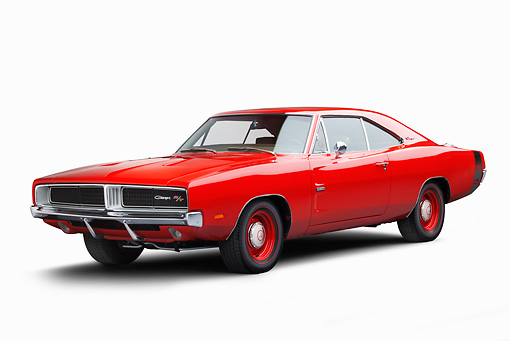 AUT 22 BK0110 01 © Kimball Stock 1969 Dodge Charger R/T Hemi Bright Red 3/4 Front View On White Seamless