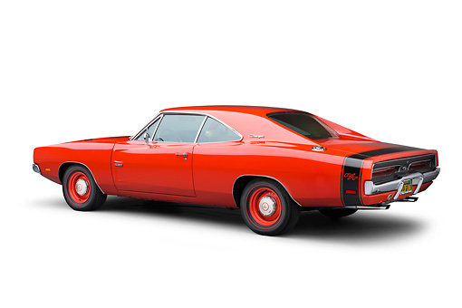 AUT 22 BK0111 01 © Kimball Stock 1969 Dodge Charger R/T Hemi Bright Red 3/4 Rear View On White Seamless